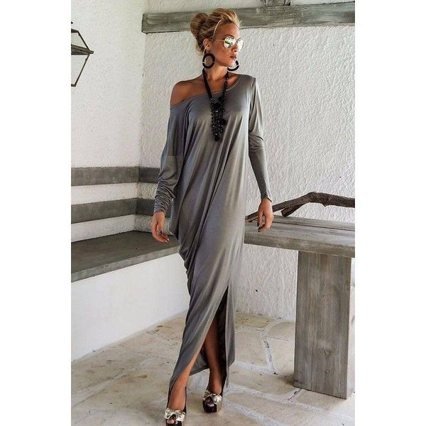 Yoins Grey Long Sleeve Loose Fit Asymmetric Maxi Dress-Grey  S/M/L/XL ($21) ❤ liked on Polyvore featuring dresses, cocktail dresses and grey