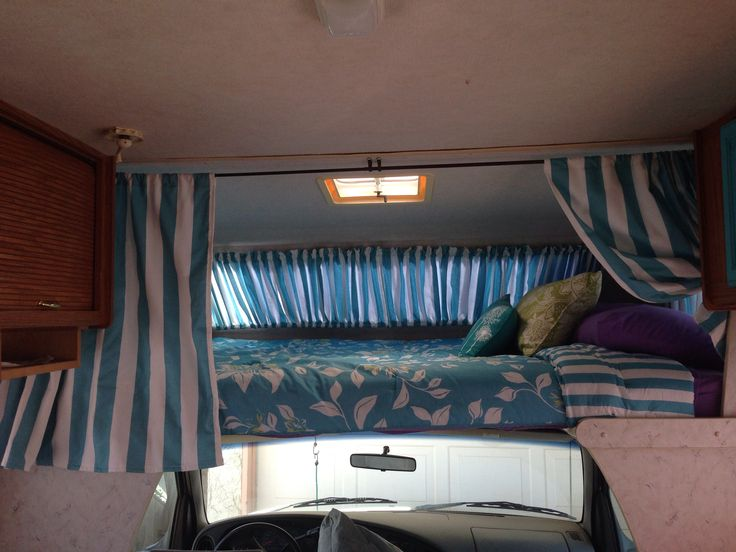 Privacy curtains for the over cab bed area | My RV Redecorating ...