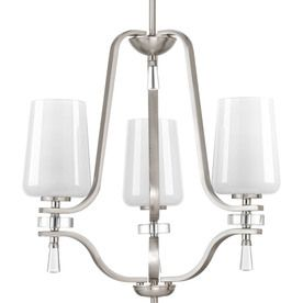 Progress Lighting Indulge 20-In 3-Light Brushed Nickel Shaded Chandelier P4809-09