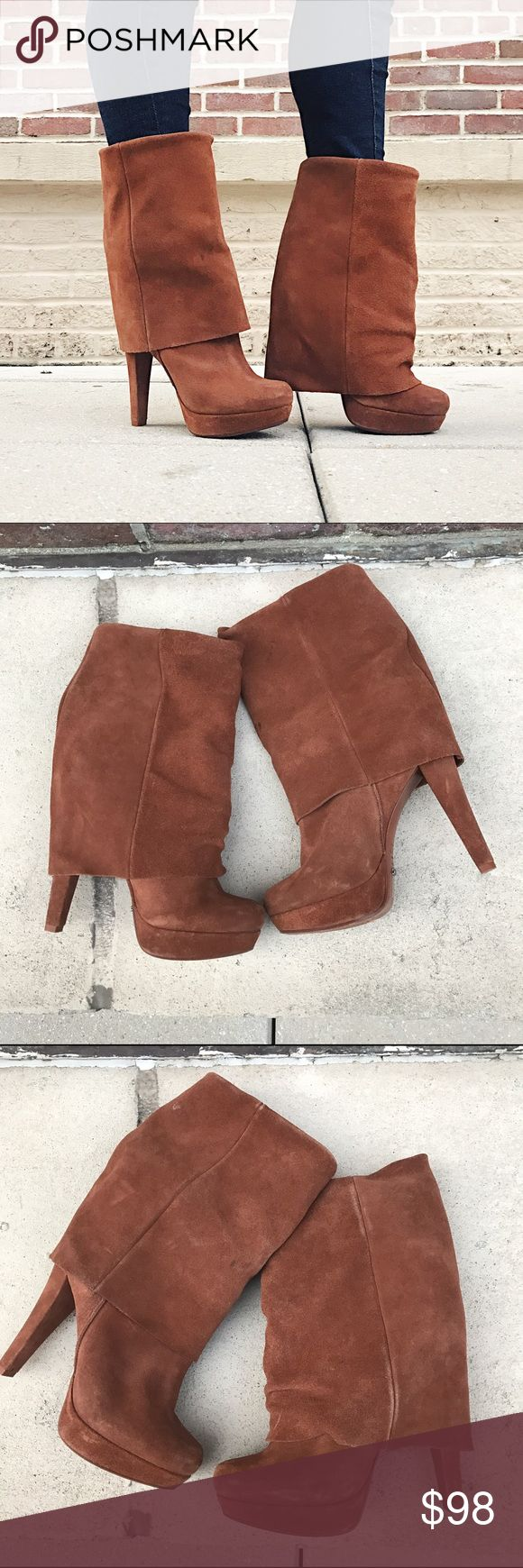 """SCHUTZ Fold Over Boots SCHUTZ Fold Over Boots -Size 7/ Euro 38 -Suede Upper/Leather insole. -Heel height: 5"""" -In great condition! Suede shows some signs of wear and a has few tiny spots.  NO Trades. Please make all offers through offer button. SCHUTZ Shoes Ankle Boots & Booties"""