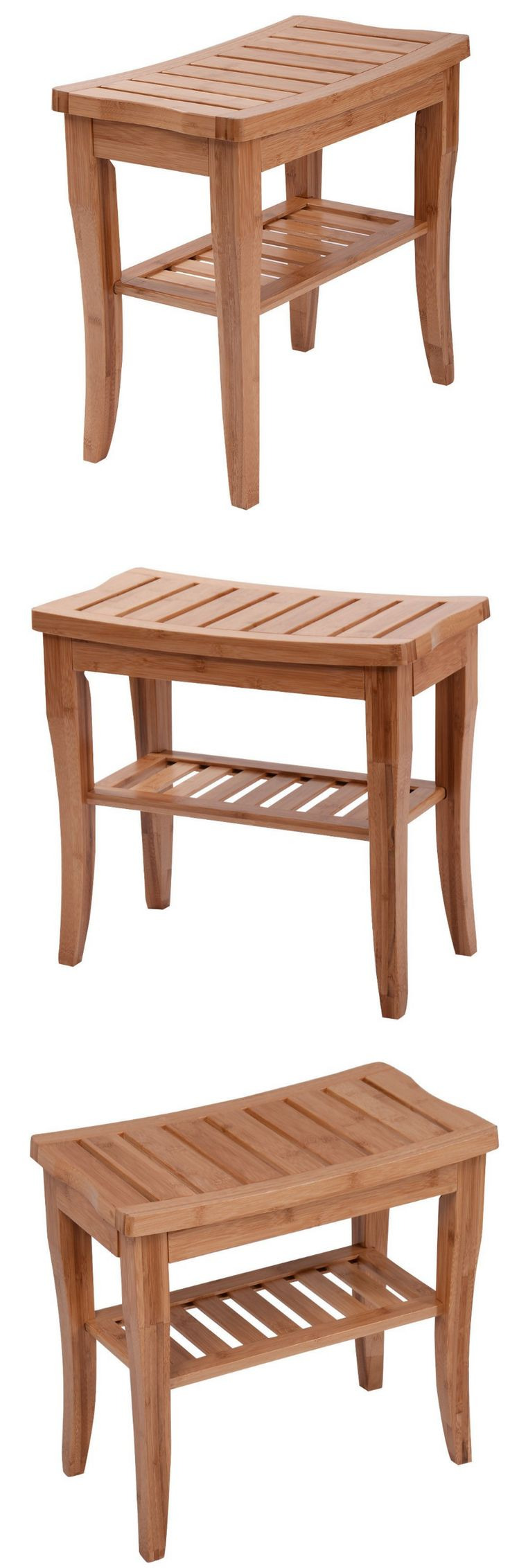 Shower and Bath Seats: Bathroom Bench Stool Wood Chair Storage Shelf Organizer Shower Seat Furniture -> BUY IT NOW ONLY: $69.93 on eBay!