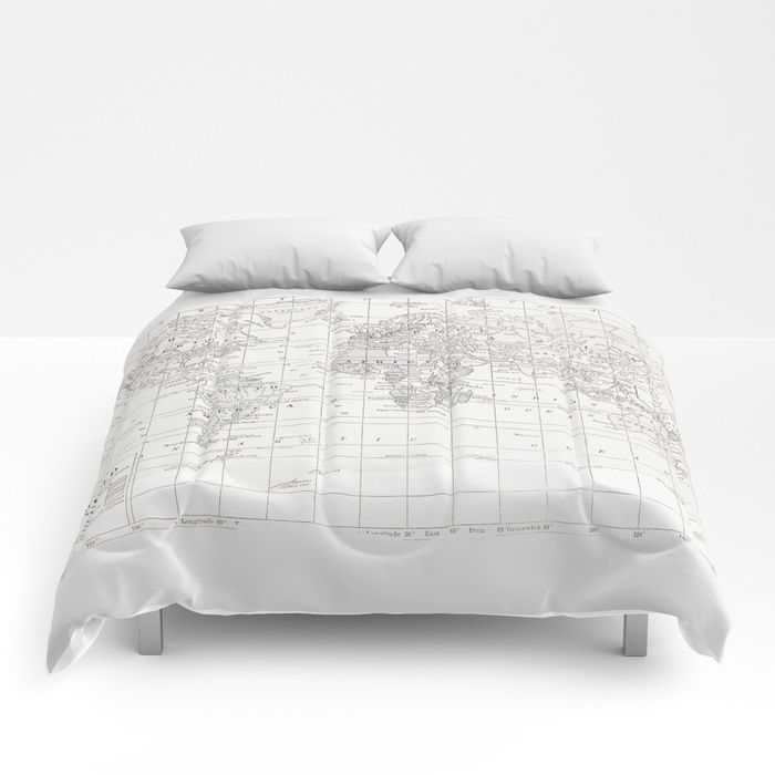 15 best dilly dally bdrm images on pinterest athletes excercise buy world map white on white comforters by catherineholcombe worldwide shipping available at society6 gumiabroncs Image collections