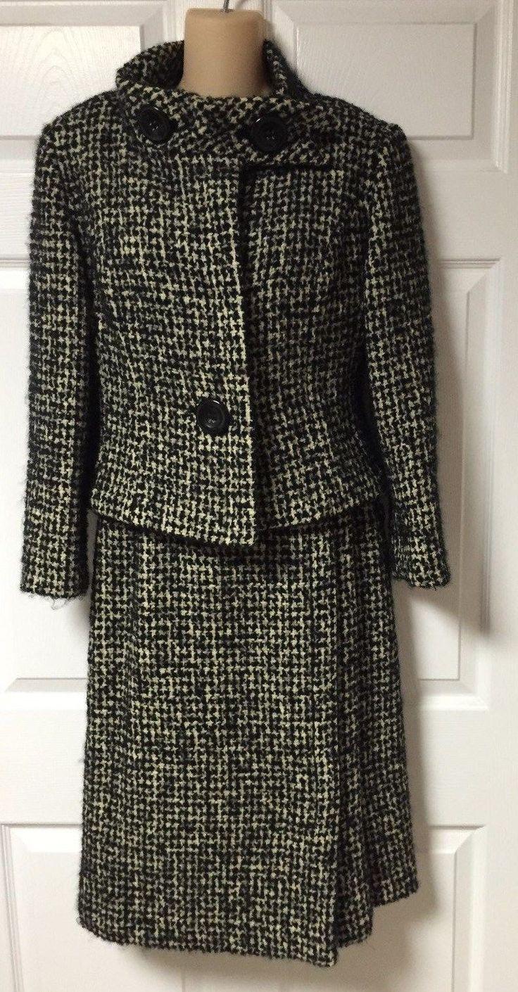 Vintage Pierre Cardin Paris 1960's Black and White Tweed Wool Skirt Suit in Clothing, Shoes & Accessories, Vintage, Women's Vintage Clothing | eBay