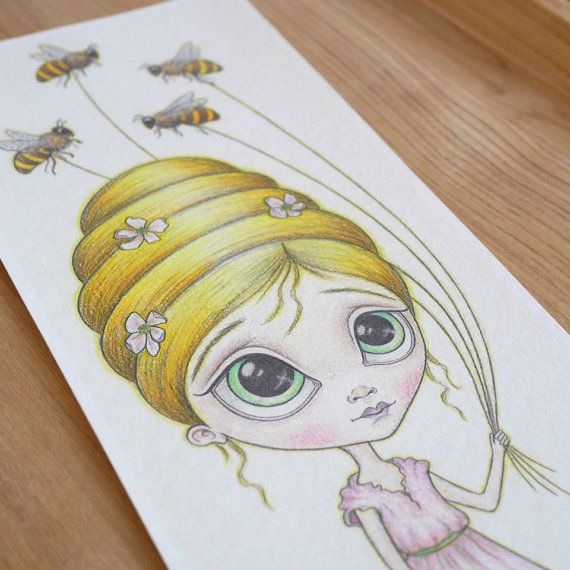 The Bee Keeper ~ 5x12 ~ Fine Art Print ~ Pop Surrealism ~ Big Eyed Drawing ~ By Nicole Clements