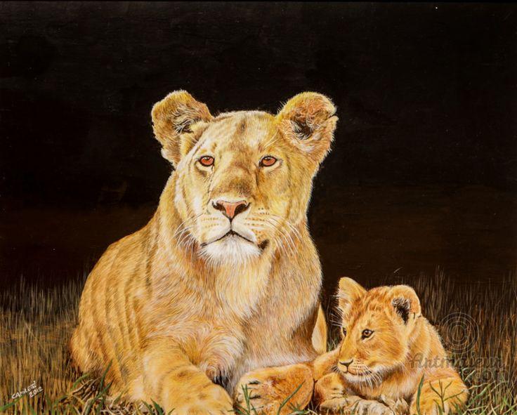 LEONESSA CON CUCCIOLO - Painting,  40x50 cm ©2012 by VALENTINO CAMILETTI -                                                        Figurative Art, Wood, Animals