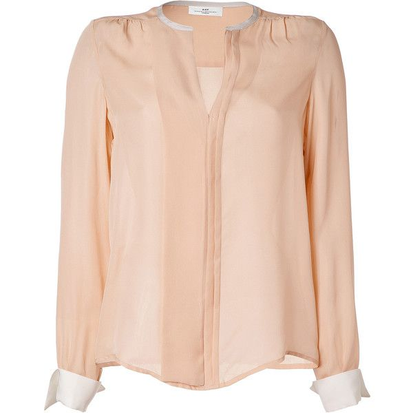 DAY BIRGER ET MIKKELSEN Nude/White Silk Trinity Blouse ($230) ❤ liked on Polyvore