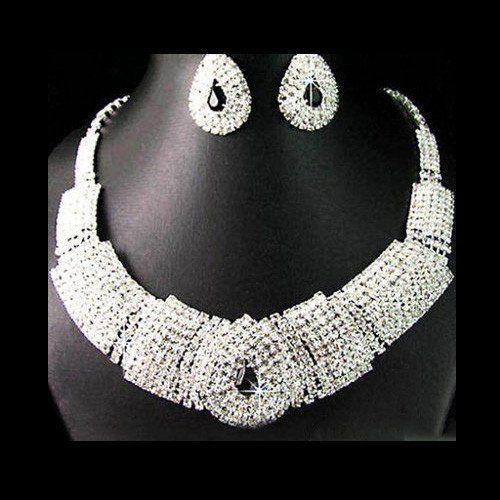 Mega Rhinestone Necklace and Earring Bridal Set – UCHARMME.co.nz