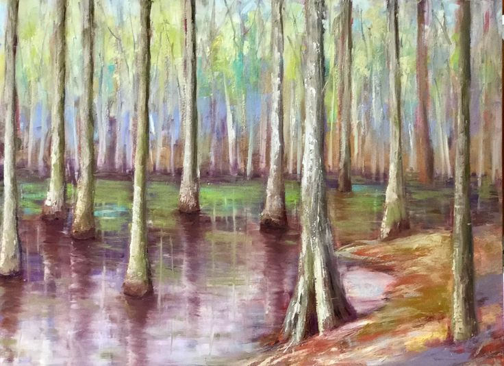 Cypress trees in the Mississippi Delta, oil, 36x48, www.peytonhutchinson.com