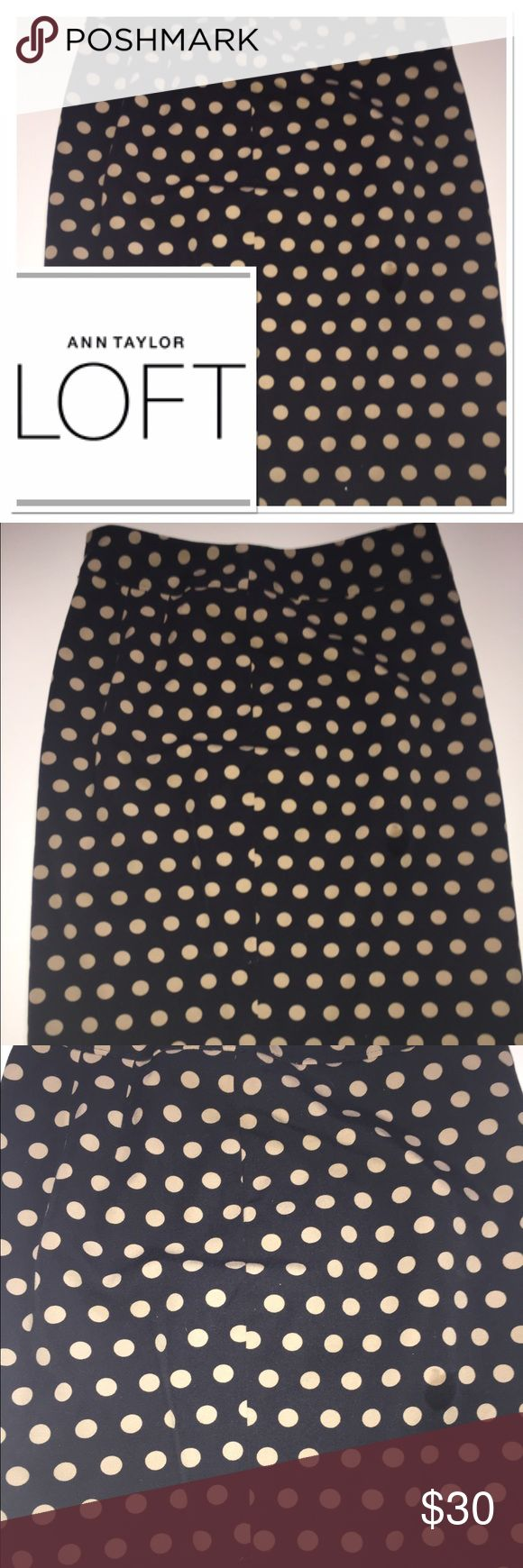 Anne Taylor Loft black and cream polka dot skirt Very cute polka dot skirt from the Loft in excellent condition comes to mid thigh LOFT Skirts Midi