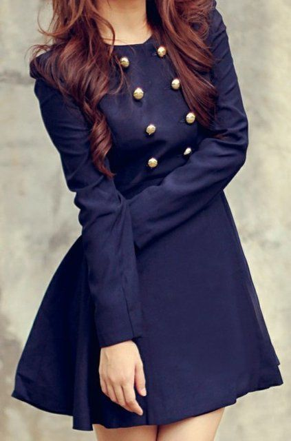 Navy blue button dress . oh geez. I need this. now