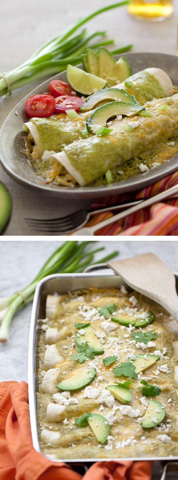 Avocado Cream and Chicken Suiza Enchiladas Recipe | foodiecrush.com