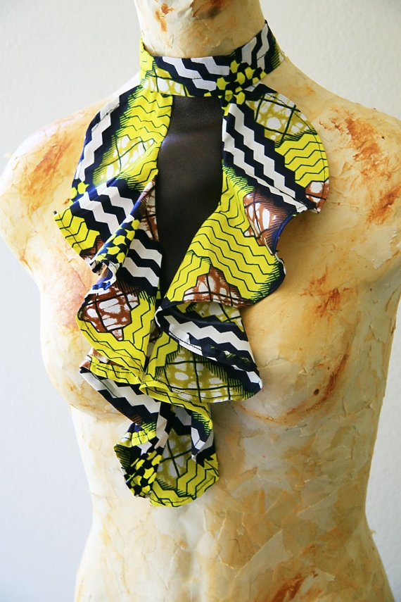 Leather and African Fabric Bib Necklace