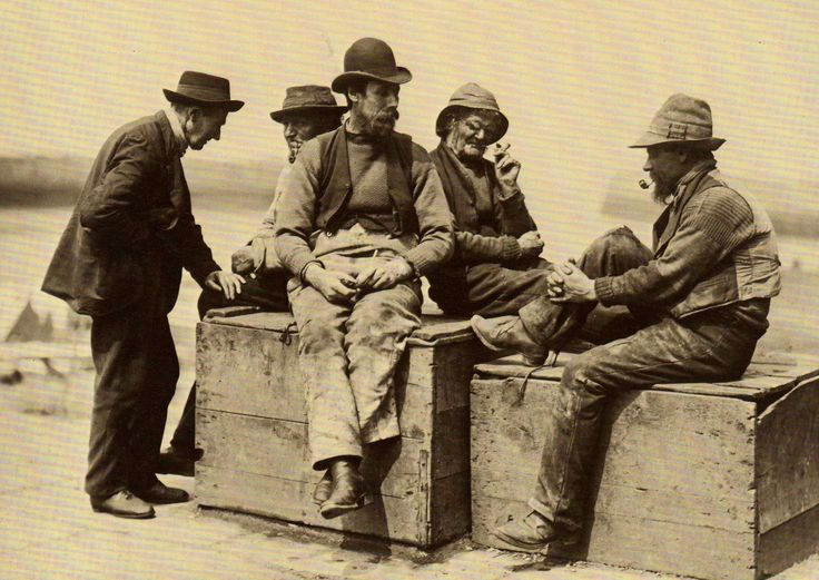 Whitby Fishermen on Tate Hill Pier - Whitby - North Yorkshire - England - Late 1800s