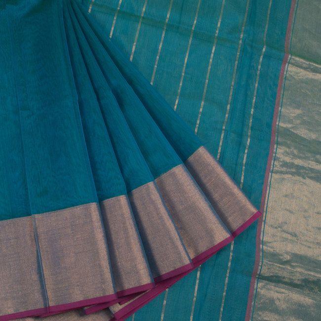 Buy online Handwoven Blue Maheshwari Silk Cotton Saree With Striped Pallu 10013202
