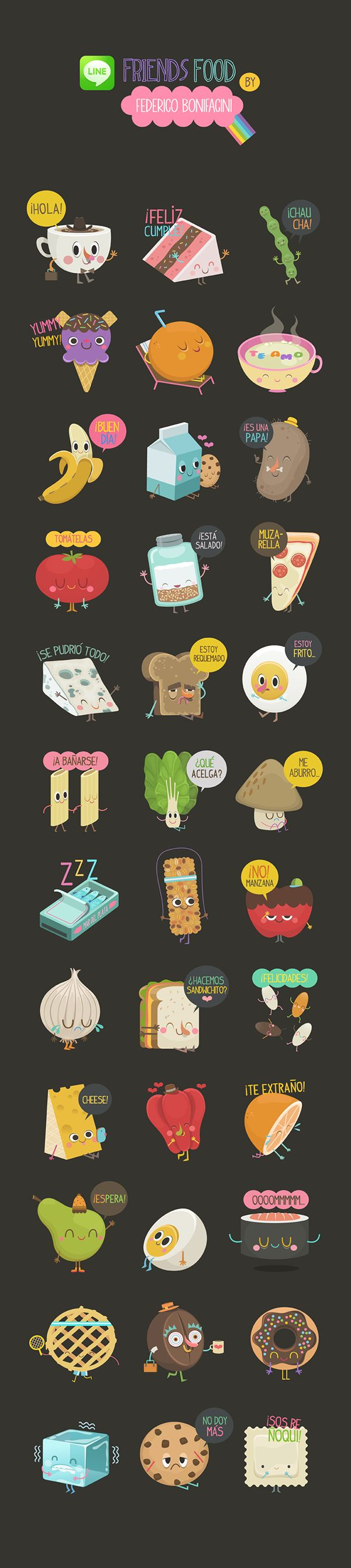 God! So cute! https://www.behance.net/gallery/22587311/FRIENDS-FOOD-Line-Stickers