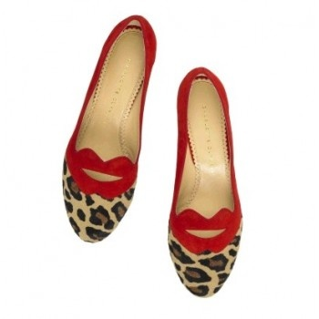 $162  Charlotte Olympia Bisoux ponyhair and suede flats.Red