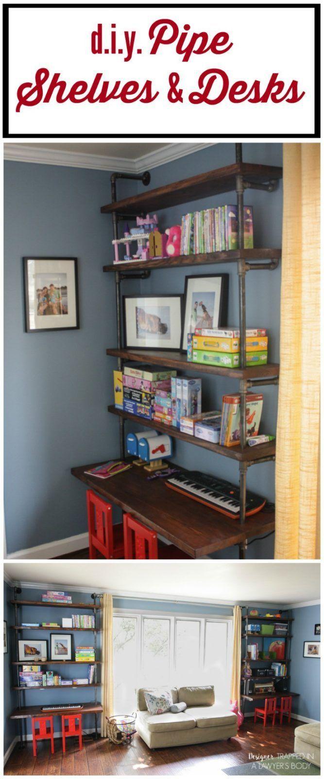 DIY-Rohrregale und eingebaute Schreibtische ,  #DIYRohrregale #eingebaute #Schreibtische #und