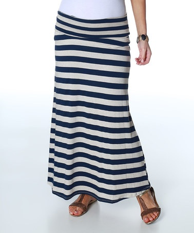 Navy Blue & Cream Stripe Mid-Belly Maternity Maxi Skirt by PinkBlush Maternity on #zulily