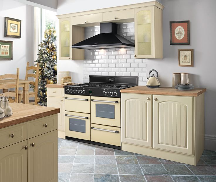 Belling Classic Range Cooker In An Inspirational Cream Kitchen With Wooden  Worktops And Stone Tiled Floor Part 12