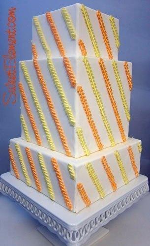 Modern Orange Yellow Square Wedding Cakes Photos & Pictures - WeddingWire.com