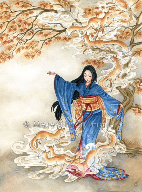 Kitsune Dance by MeredithDillman.deviantart.com on @deviantART