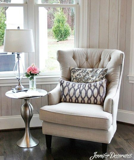 Side Chair Table in officeCottage style decorating ideas from Jennifer Decorates