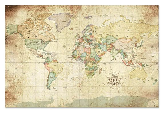 232 best carte du monde images on pinterest cards worldmap and map of the world worldmap wall art vintage map style world travel maps with pins large wall map map for grandparents retirement map gumiabroncs Images