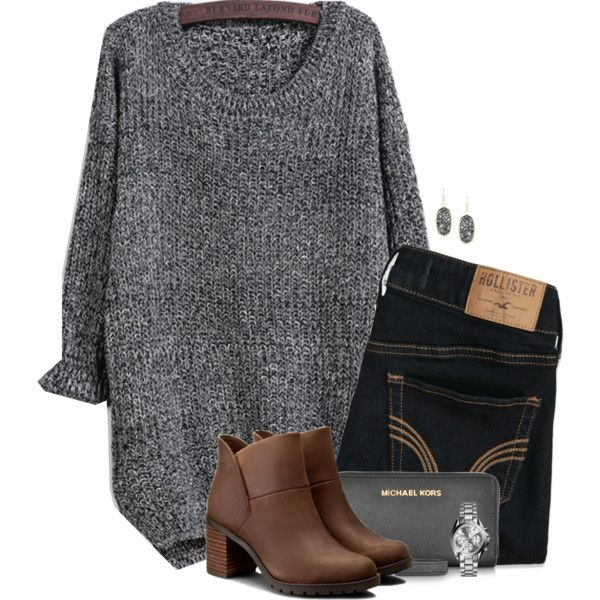 Loose sweater and ankle boots for Fall by steffiestaffie on Polyvore featuring polyvore, мода, style, Hollister Co., Clarks, Michael Kors, Kendra Scott, fashion and clothing