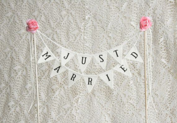 Wedding Cake Topper Banner Just Married This beautiful Cake Topper Banner Just Married made for a wedding in Rustic, Country Wedding, Shabby
