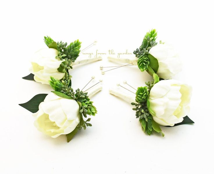 White Peony Boutonnieres - Eucalyptus Accents - Wedding Prom Homecoming Boutonniere