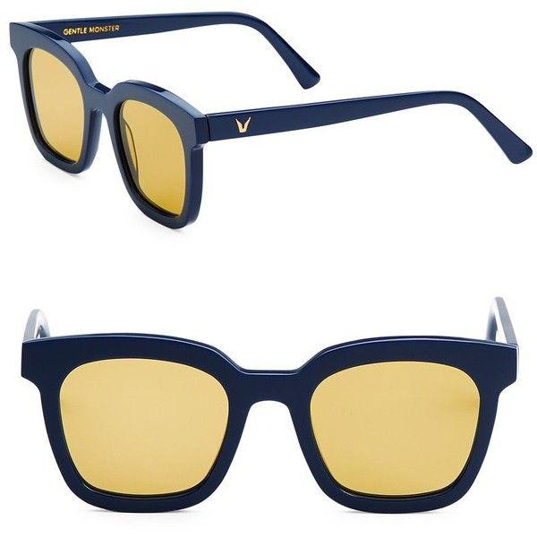 Gentle Monster Finn 48MM Wayfarers Sunglasses ($215) ❤ liked on Polyvore featuring accessories, eyewear, sunglasses, yellow tinted sunglasses, uv protection sunglasses, wayfarer glasses, wayfarer sunglasses and wayfarer style sunglasses