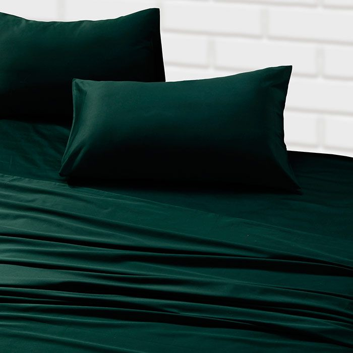 Silky emerald sheets with all white comforter? Soft Cotton Sateen Sheet Set with High Thread Count Sale | Yo Home