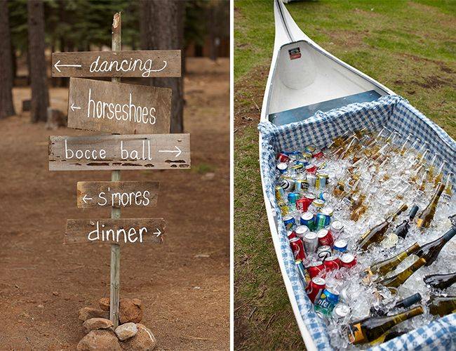 lake wedding ideas // wooden signs + canoe holding drinks