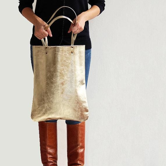 We're totally gaga for this gold leather tote. #etsyfashion