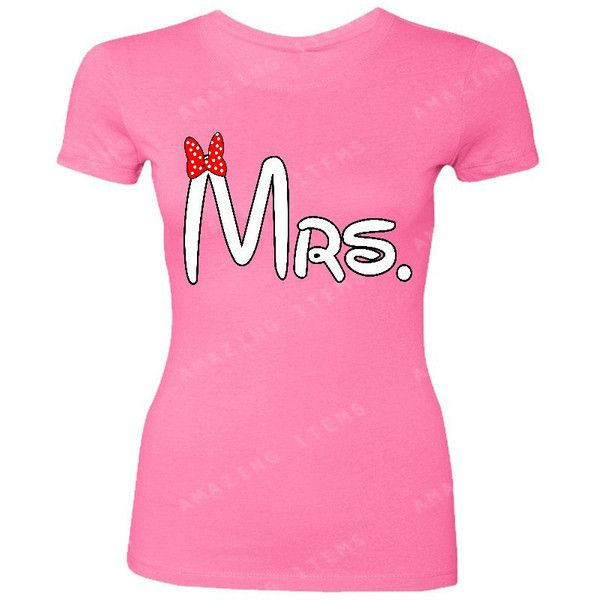 mrs.minnie Women T-Shirt Couple Matching Shirts Valentine's Day Shirts... ($9.79) ❤ liked on Polyvore featuring tops, t-shirts, black, women's clothing, valentines day t shirts, tee-shirt, patterned tees, cotton t shirts and t shirt