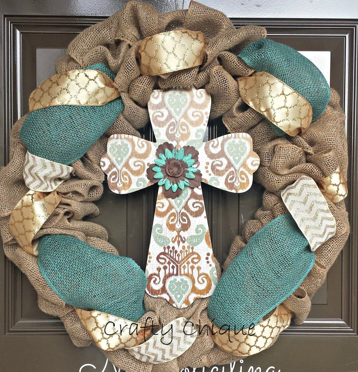 Burlap Cross Wreath; Easter Wreath; Spring Wreath; Cross Wreath by CraftyChique06 on Etsy https://www.etsy.com/listing/226826192/burlap-cross-wreath-easter-wreath-spring
