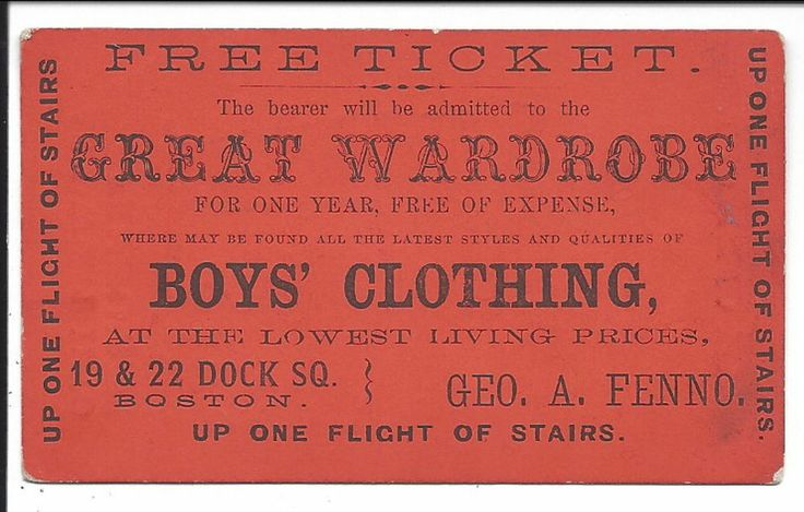 "Free Ticket to Buy at ""Boy's Clothing"" Store, Orange Coated Stock, c1870s"