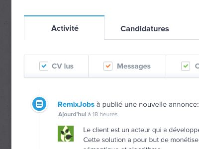 RemixJobs new Activity tab UI design by Julien Renvoye