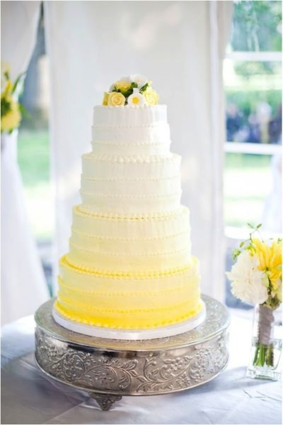 Yellow ombre wedding cake...I'd like it in a maybe turquoise ombre please :)