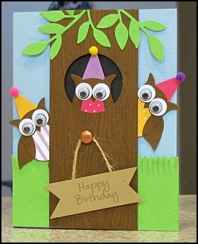 owl punch card- minus the party hats, this is cute