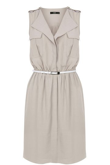 This simple shirt dress is a pretty way to stay cool and chic thi summer. The piece features a frill open v neckline and double utility pockets on the front. The piece is finished with a gathered waist with skinny waist belt. The dress has military style finishings on the shoulders. Oasis Clothes.