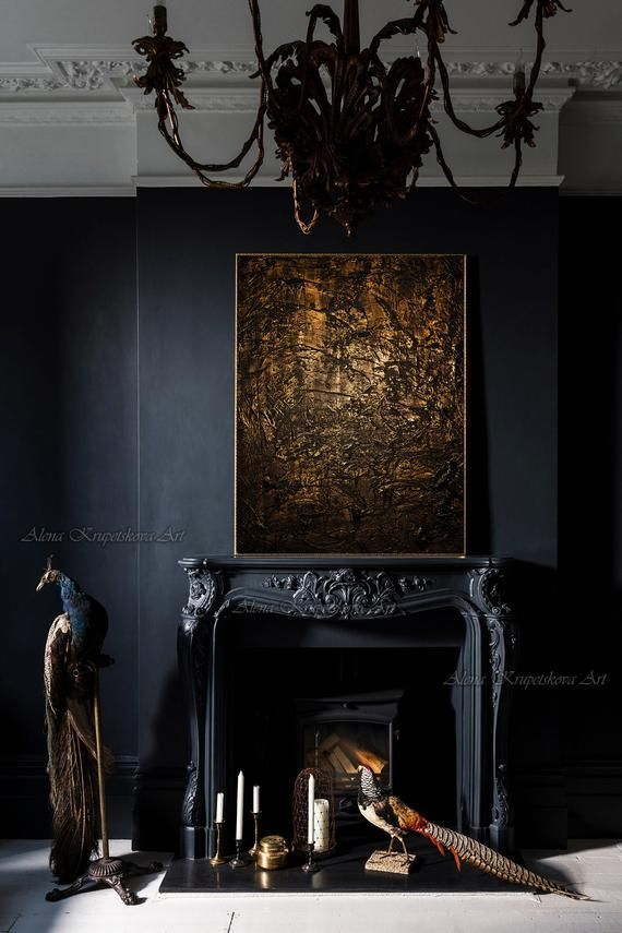 Large Dark Abstract Painting Dark Art Print On Canvas Dark Wall