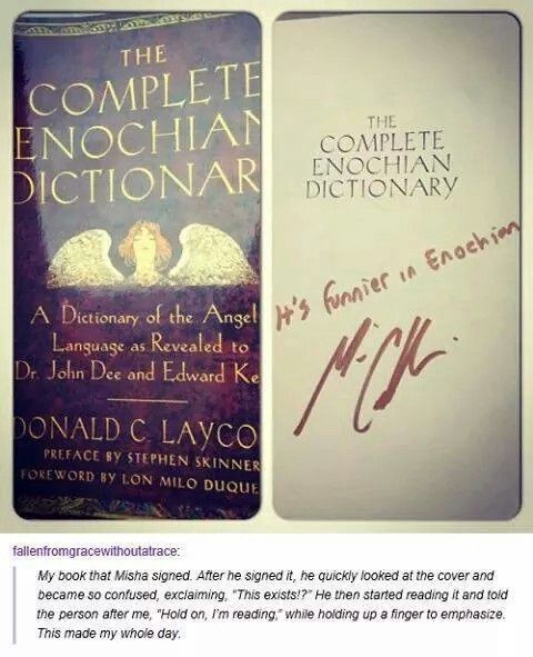Misha signing a copy of The Complete Enochian Dictionary - I NEED to get this book!!