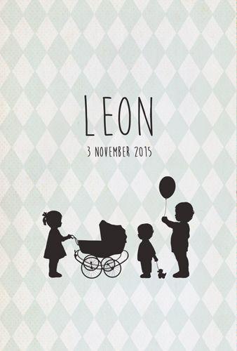 Geboortekaartje Leon - Pimpelpluis - https://www.facebook.com/pages/Pimpelpluis/188675421305550?ref=hl (# broertje - zusje - broer - zus -  kindjes - lief - silhouet - wieg - eendje - ballon - origineel)