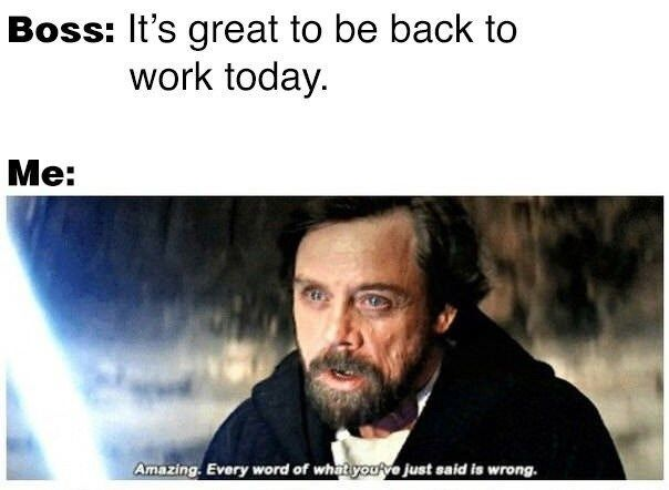 That Was A Lie Work Memes Star Wars Memes Back To Work Humour