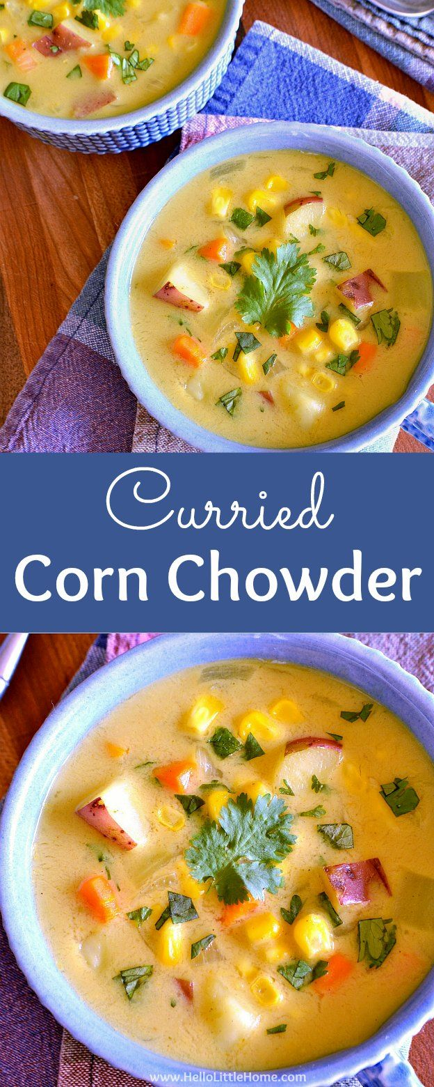 Easy Curried Corn Chowder with Coconut Milk ... a delicious vegetarian soup recipe that's perfect for the end of summer or anytime of year! This simple vegetarian corn chowder is filled with fresh corn, potatoes, and other veggies, as well as creamy cocon
