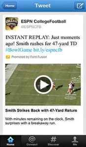 Ahead Of Bowl Season, ESPN Teams Up With Twitter To Provide College Football Video Highlights In Stream