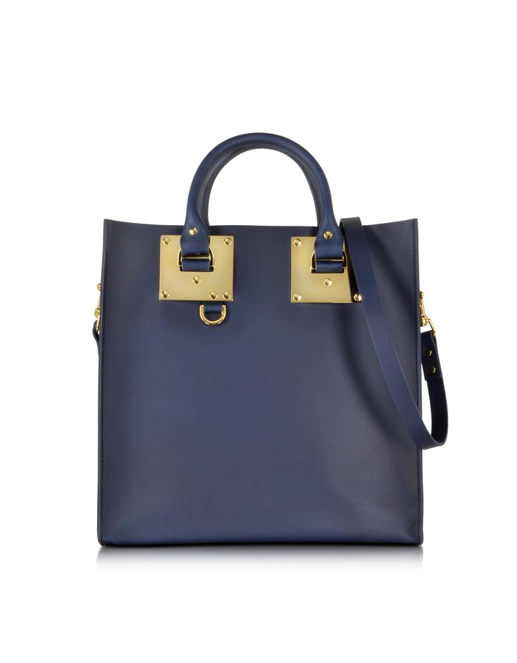 Sophie Hulme Navy Blue Large Leather Square Tote at FORZIERI