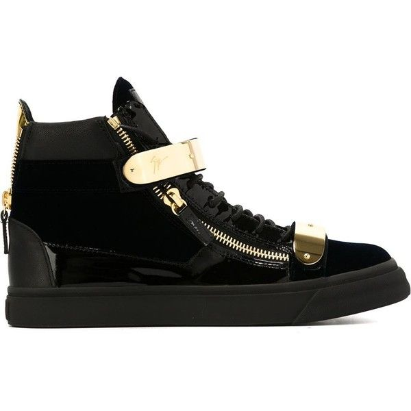 Giuseppe Zanotti Design London hi-top sneakers (2,245 ILS) ❤ liked on Polyvore featuring men's fashion, men's shoes, men's sneakers, black, mens black sneakers, mens black high top sneakers, mens high top shoes, mens flat shoes and mens black hi top sneakers