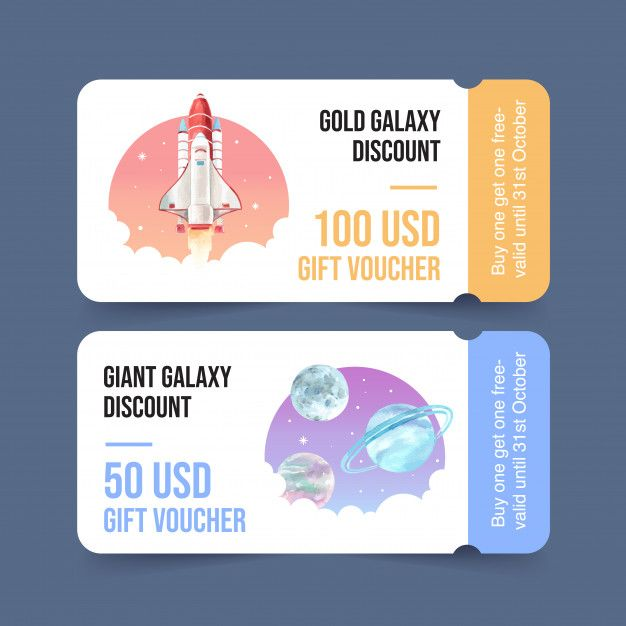 Download Galaxy Ticket Template With Rocket Planets Watercolor Illustration For Free